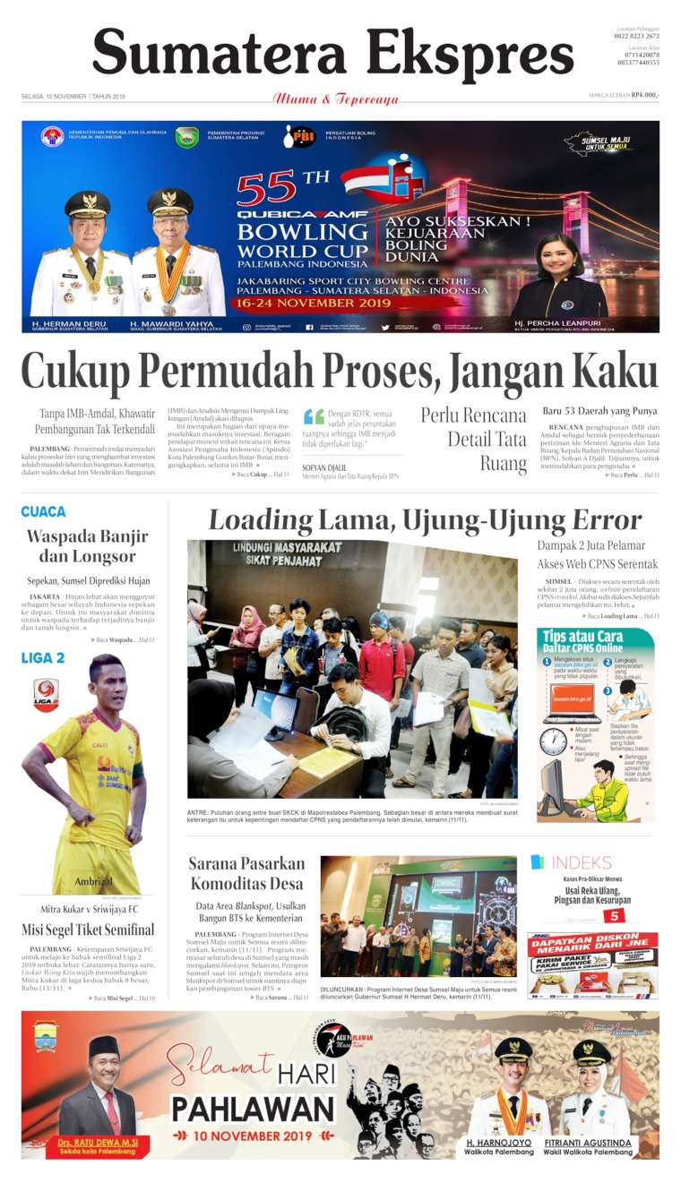 Sumatera Ekspres Digital Newspaper 12 November 2019
