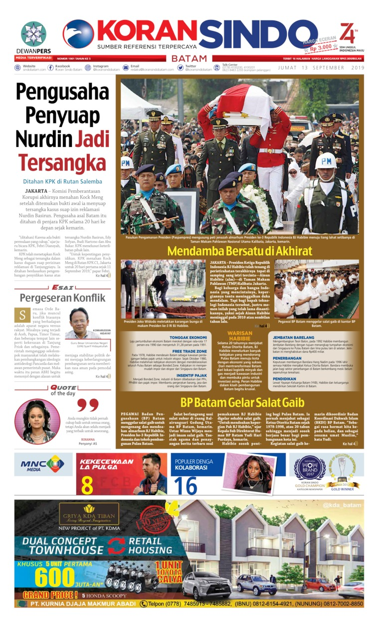 KORAN SINDO BATAM Digital Newspaper 13 September 2019