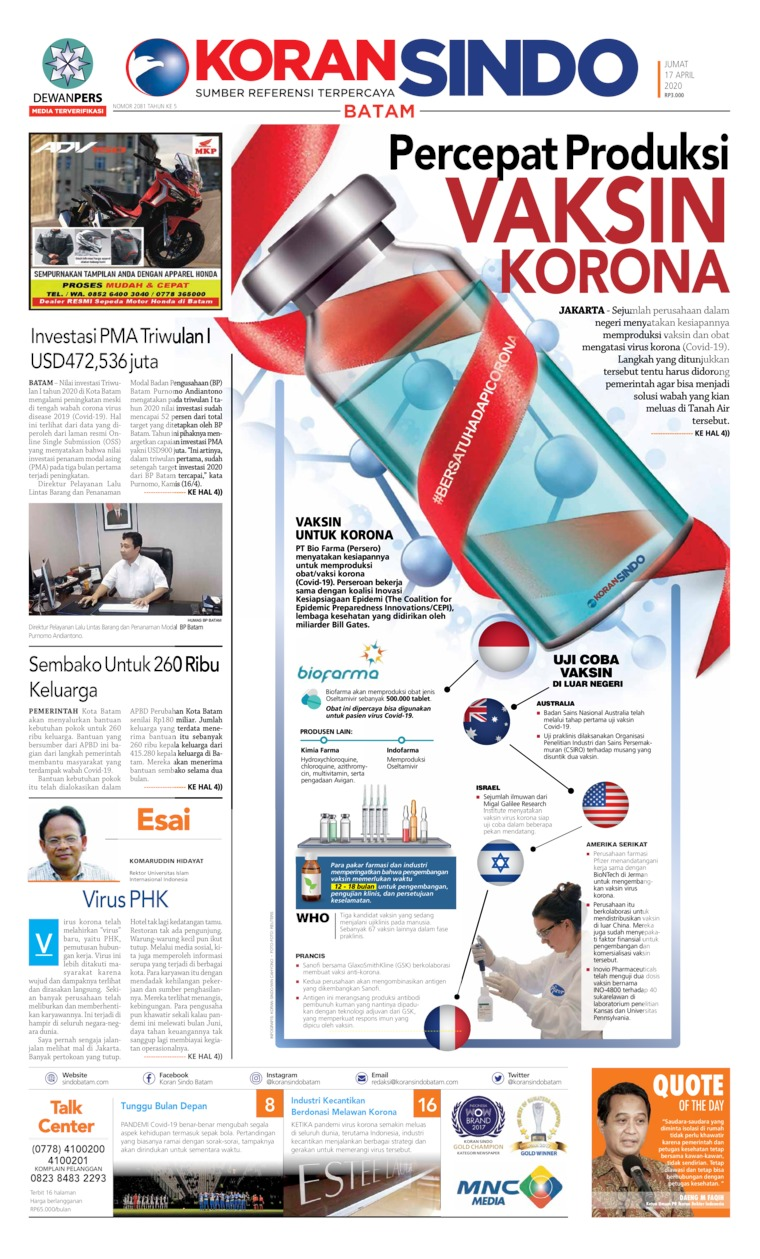 KORAN SINDO BATAM Digital Newspaper 17 April 2020