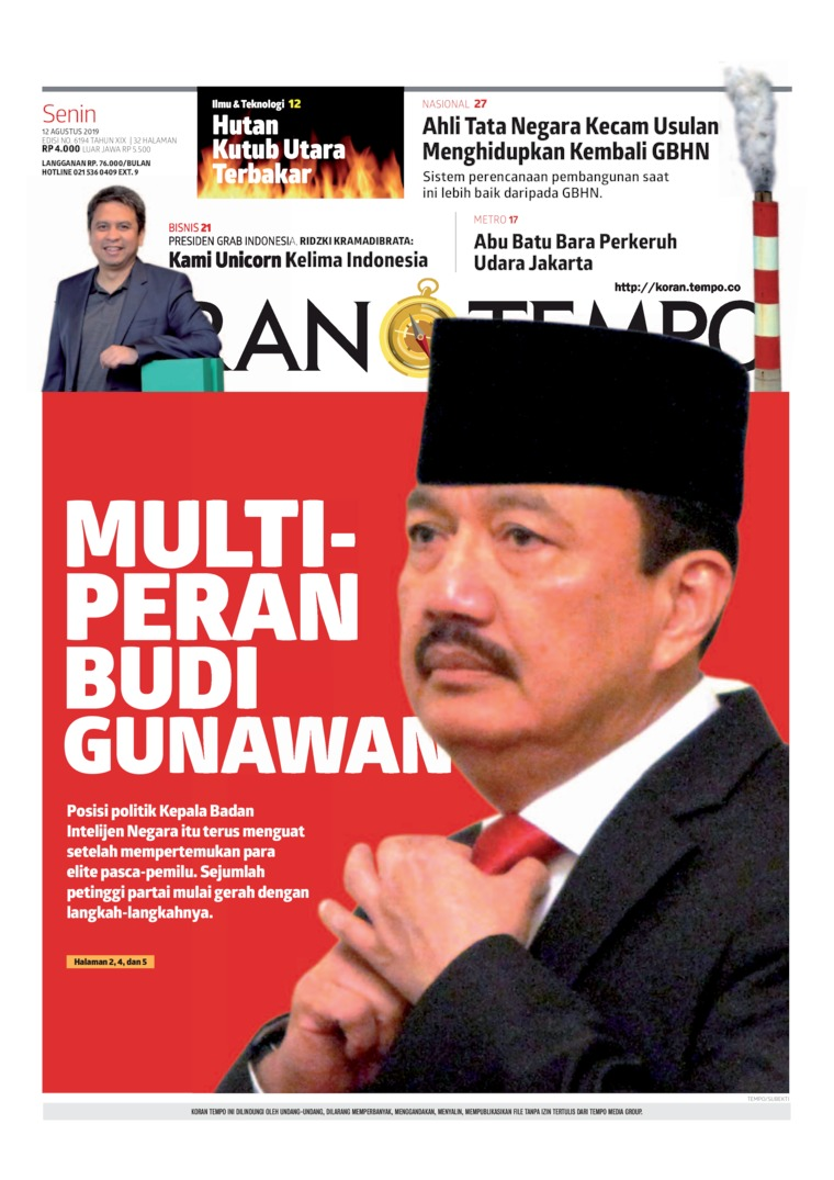 Koran TEMPO Digital Newspaper 12 August 2019
