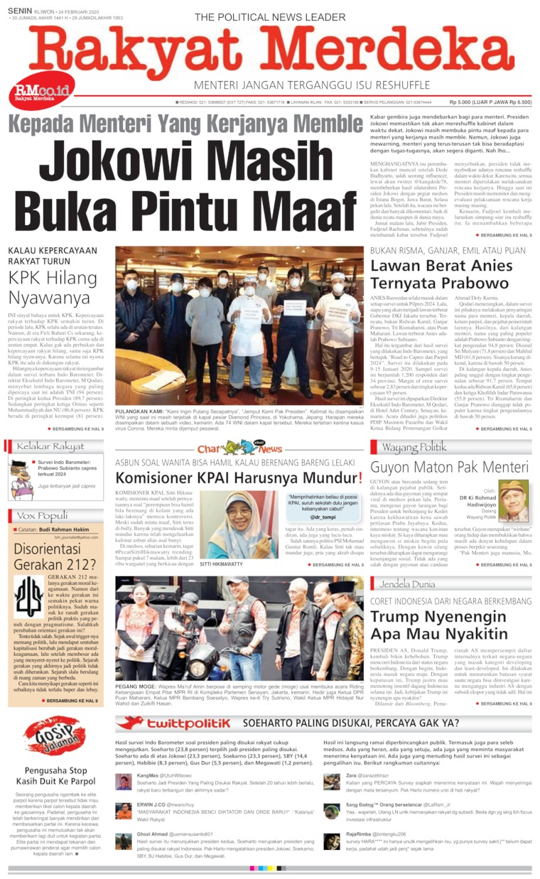 Rakyat Merdeka Digital Newspaper 24 February 2020