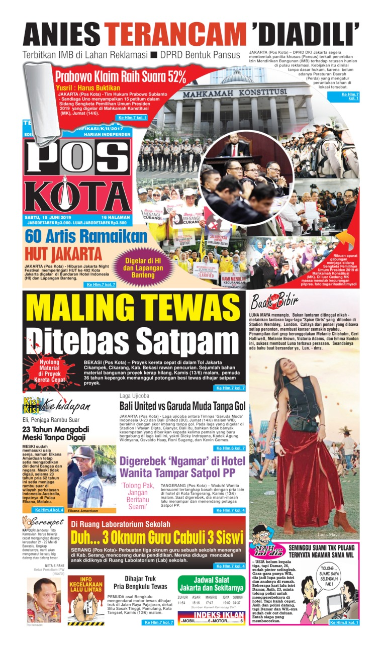 Pos Kota Digital Newspaper 15 June 2019
