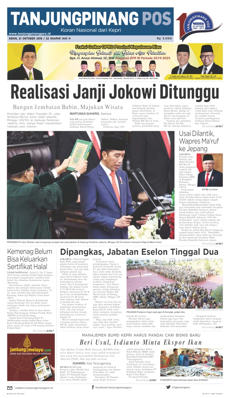 Tanjungpinang Pos Digital Newspaper 21 October 2019