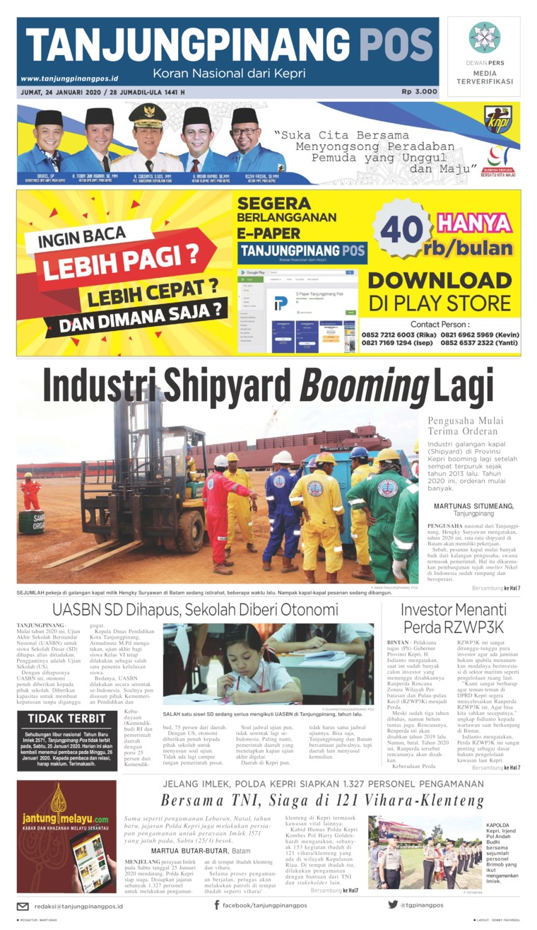 Tanjungpinang Pos Digital Newspaper 24 January 2020
