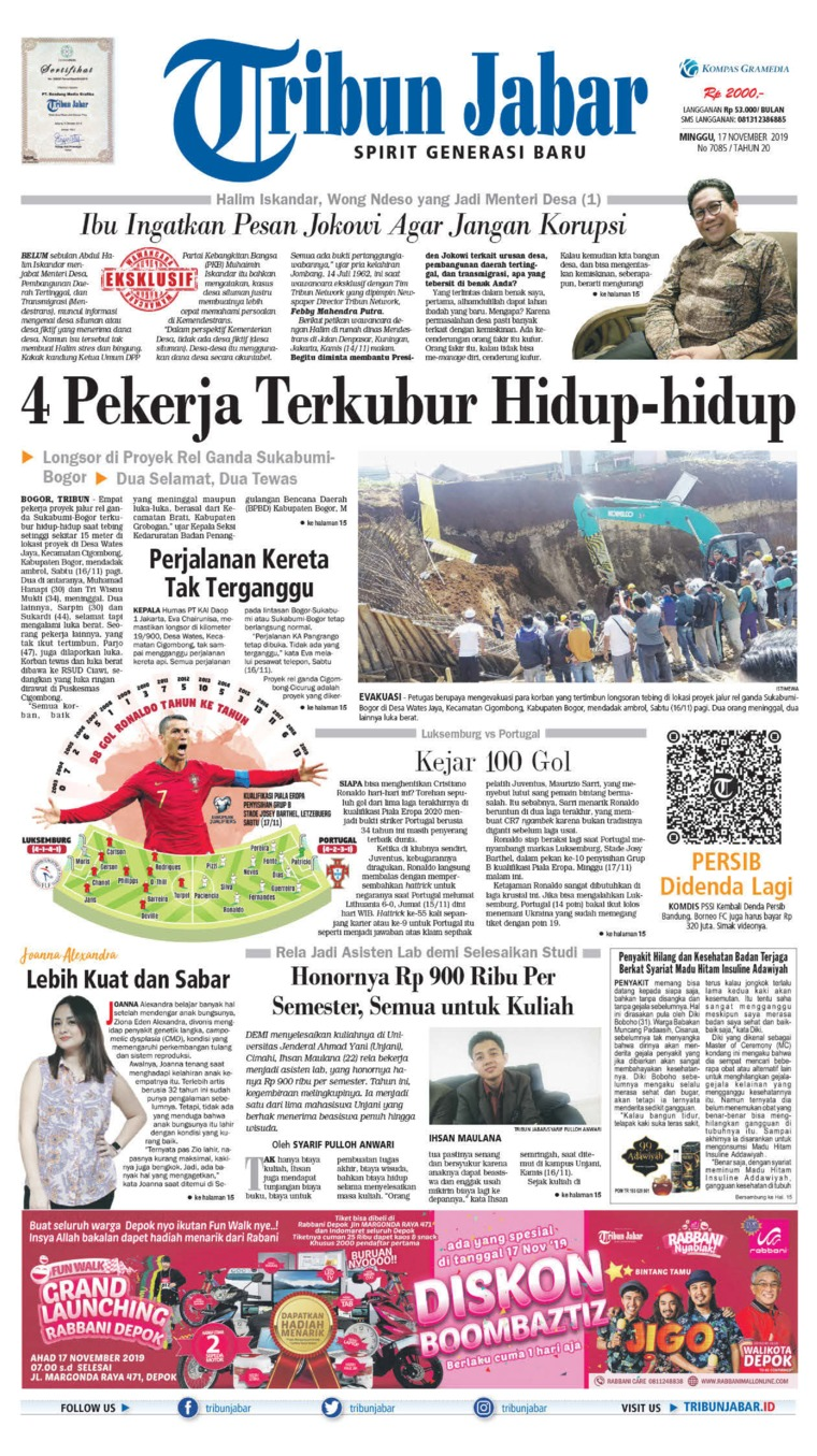 Koran Digital Tribun Jabar 17 November 2019