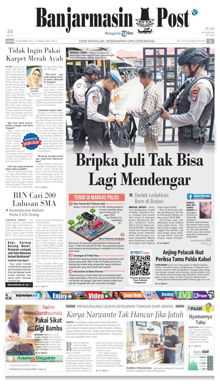 Banjarmasin Post Digital Newspaper 14 November 2019