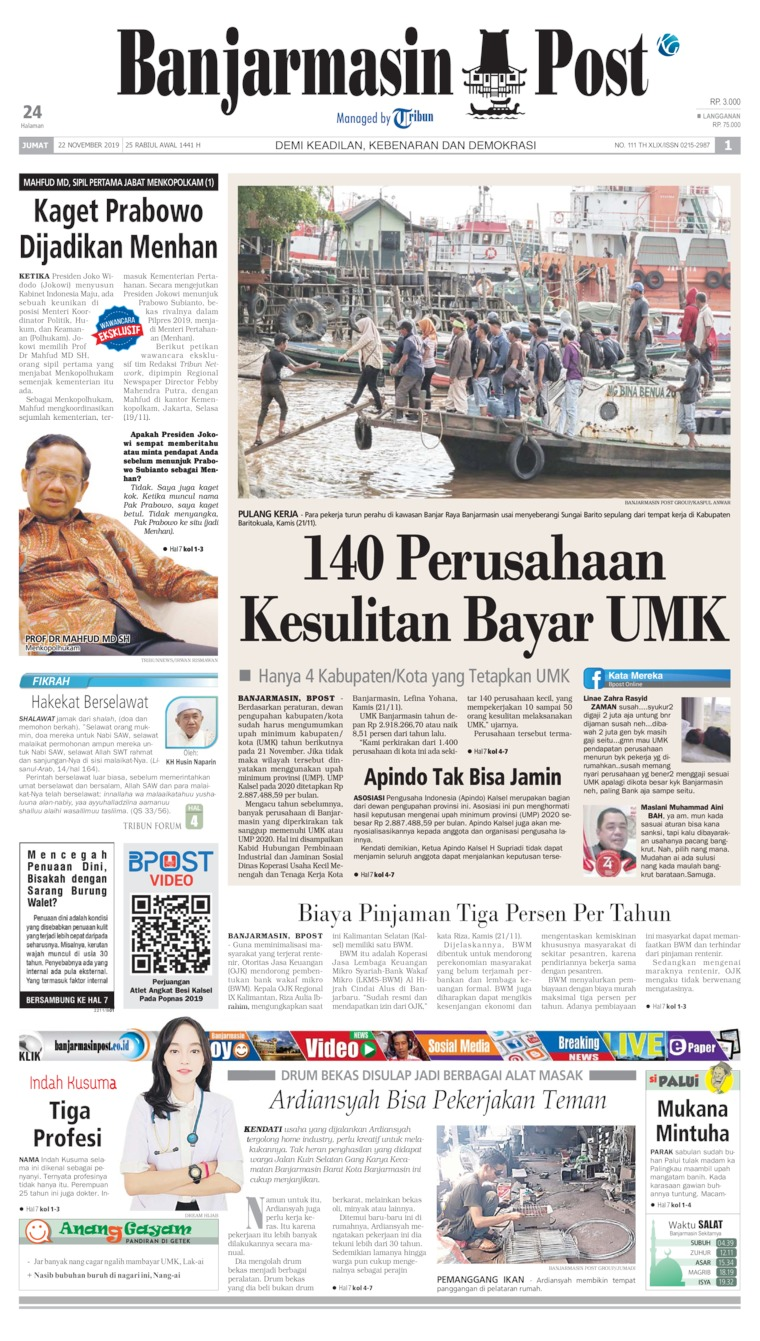 Koran Digital Banjarmasin Post 22 November 2019
