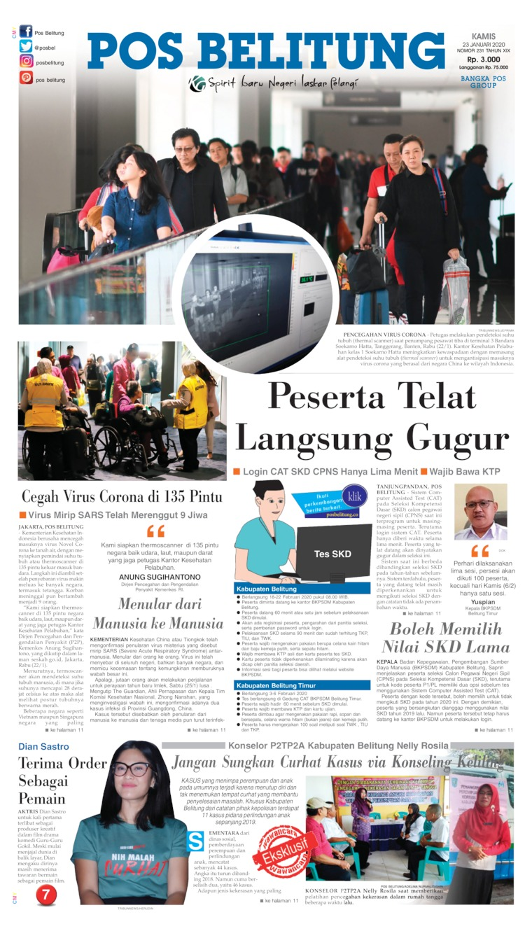 Pos Belitung Digital Newspaper 23 January 2020