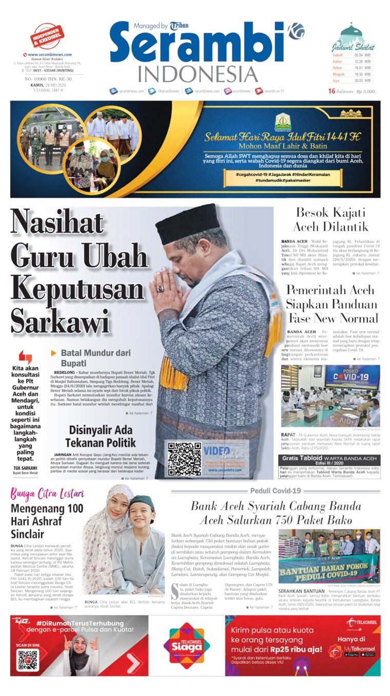 Serambi Indonesia Digital Newspaper 28 May 2020