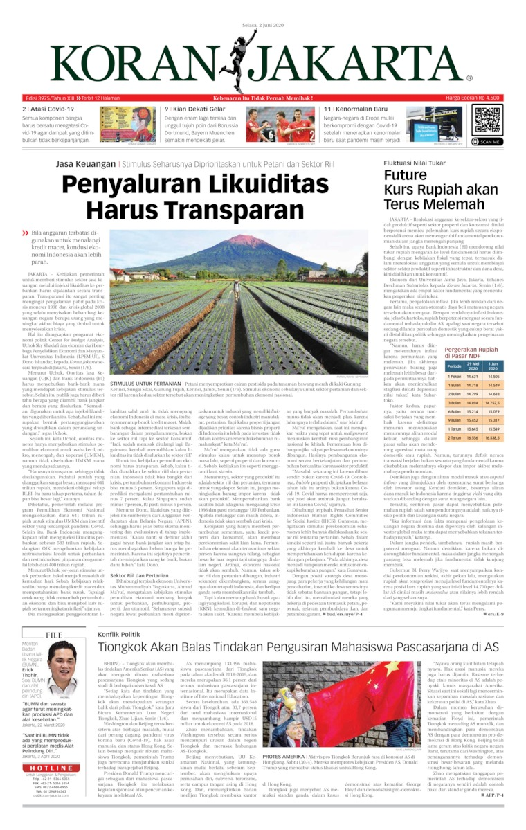 Koran Jakarta Digital Newspaper 02 June 2020