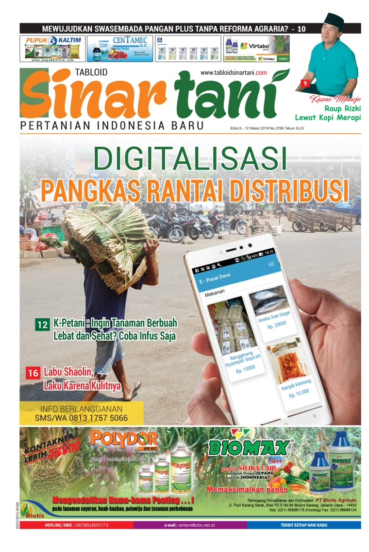 Sinar tani Digital Magazine ED 3789 March 2019
